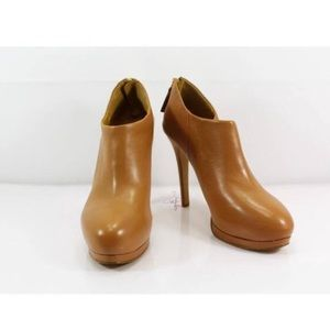 Nine West Tan Bootie Style Zipper Back Heels